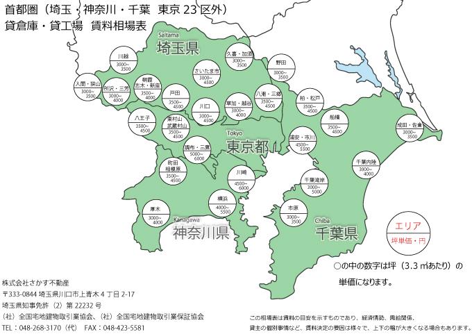 埼玉・神奈川・千葉・23区外 倉庫・工場賃料相場表